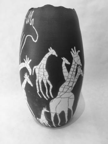 giraffe mural black