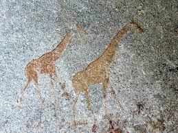 giraffes two Nswatugi Cave Zimbabwe